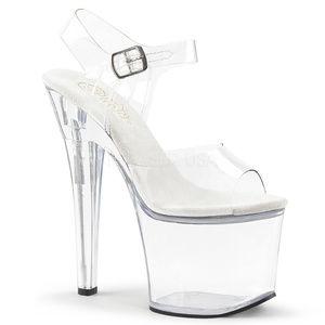 """Shoes - 7"""" High Heel Platform Transparent Stripper Shoes"""